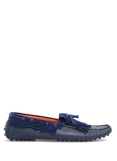 Etro %100 Deri Loafer Ayakkabı Lacivert